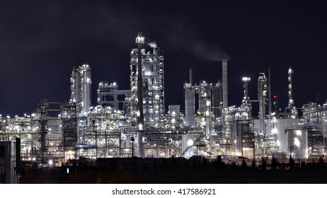 Twilight scene of chemical plant