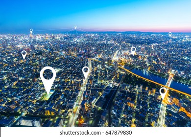twilight scene of cityscape of modern intelligence city from top view