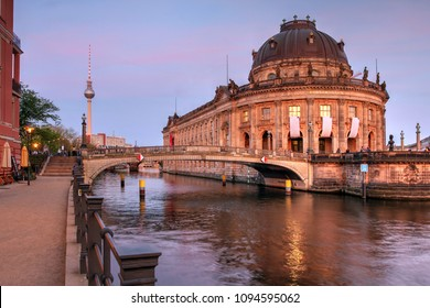 Twilight scene featuring the Bode Museum on the Museum Island in Berlin, Germany