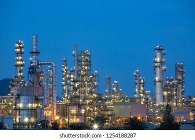 Twilight scene of oil refinery plant of Petrochemistry industry in twilight time