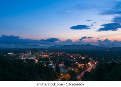 Twilight scene overlooking Asheville, a mountain town in western North Carolina