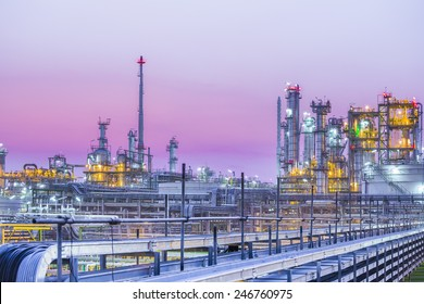 Twilight scene of Petroleum and chemical plant