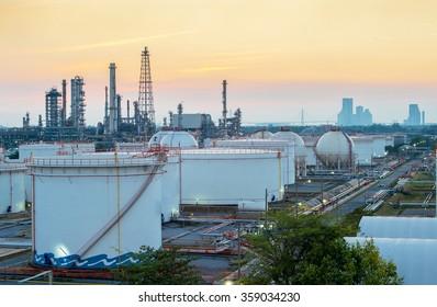 Twilight scene of petroleum and refinery plant