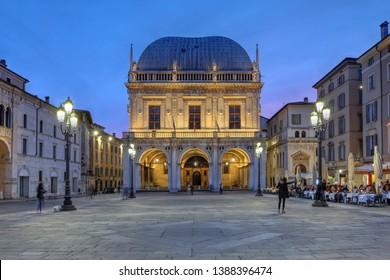 Twilight scene in Piazza della Loggia, Brescia, Italy.