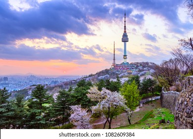 Twilight in Seoul with beautiful sky and cherry blossom Namsan Tower, Seoul, Korea