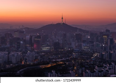 Twilight seoul tower, Seoul south korea.