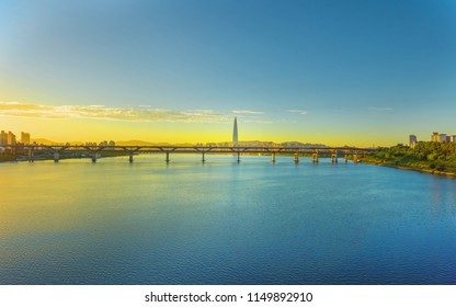 twilight Seoulcity South Korea. Hangang River and bridge