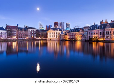 Twilight Shot of The Hague Skyline Reflected in the Hofvijer Canal, The Netherlands