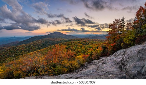 Twilight skies and fall colors from atop Beacon Heights along the Blue Ridge Parkway in North Carolina