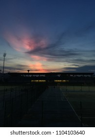 Twilight Sky Above Sport Stadium,Sunset