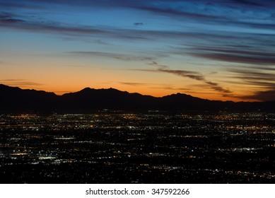 Twilight sky after sunset over city lights of Phoenix, Arizona