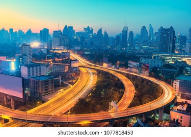 Twilight sky background, city and highway intersection night view. , cityscape background