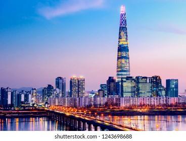 twilight sky at han river in seoul south Korea