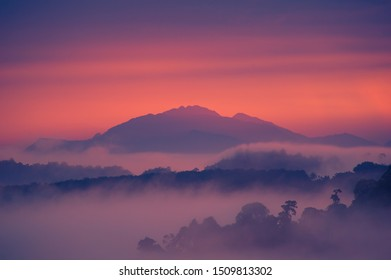 twilight sky in the morning and white sea of mist flow