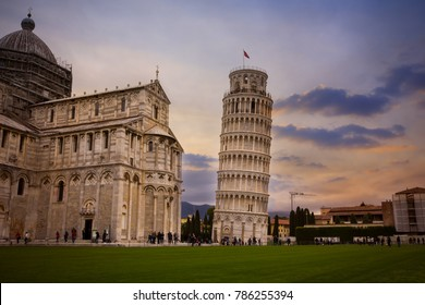 Twilight sky of Pisa Cathedral (Duomo di Pisa) with Leaning Tower  (Torre di Pisa) Tuscany, Italy.The Leaning Tower of Pisa is one of the main landmark in Italy.