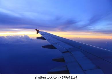 Twilight sky From the plane window