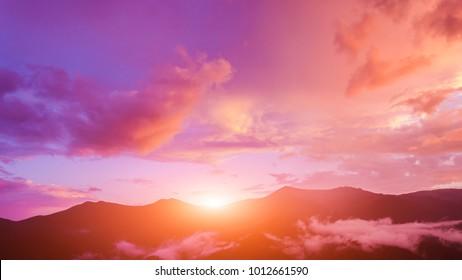 Twilight sky in purple over the mountain