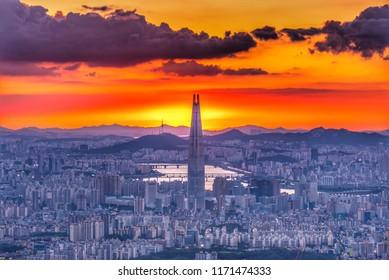 twilight sky of seoul city south korea