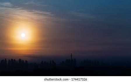twilight sky sun clouds landscape