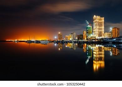 Twilight skyline of Manila Bay, Philippines