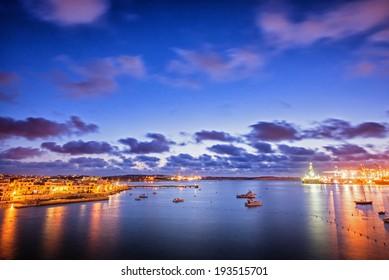 Twilight at South West Malta. Birzebbuga town.