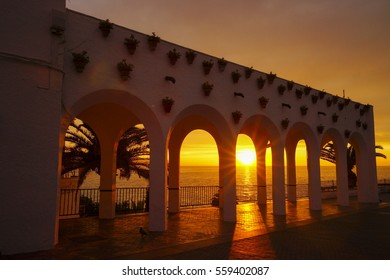 Twilight of sunrise at Balcony of Europe in Nerja Spain