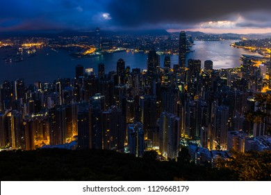 Twilight Sunrise Beautiful Landscape and Building Cityscape of Victoria Peak Harbor, Hong Kong Island, China. Famous Landmark Scenic Spot View