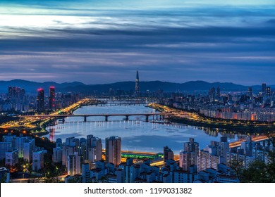 twilight at sunrise Seoul cityscape  South Korea. Hangang River and bridge