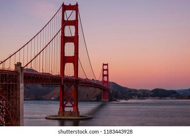 Twilight sunset at the Golden gate bridge.