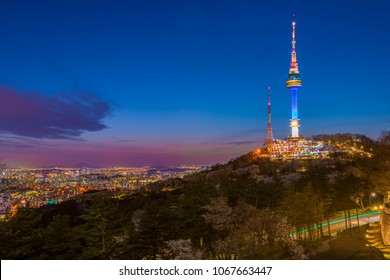 Twilight sunset at  Namsan Tower, Seoul, South Korea.