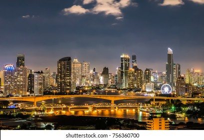 Twilight Sunset Through Town and Chao Phraya River Bangkok City Thailand