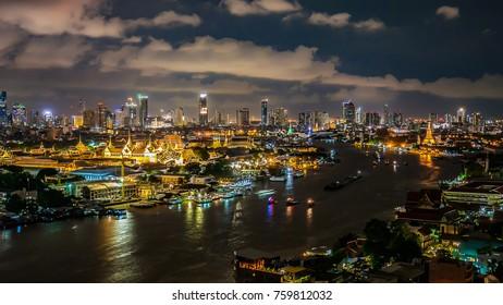 Twilight Sunset Through Town and Chao Phraya River Bangkok City Thailand