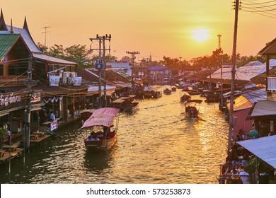 Twilight time at Amphawa floating market, Thailand