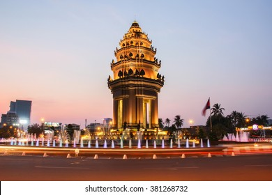 The twilight time at Independence Monument which is the one of landmark in Phnom Penh, Cambodia