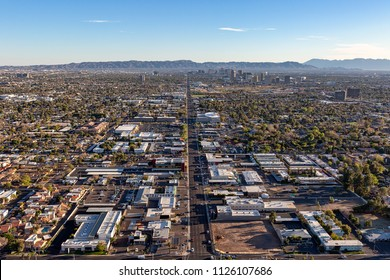 Twilight time on Phoenix, Arizona from above 7th Street & Bethany Home Road looking south