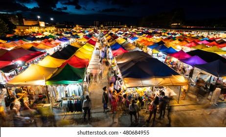 Twilight at train market in Bangkok, Thailand.