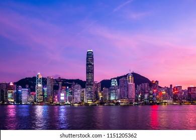 Twilight of Victoria Harbor of Hong Kong