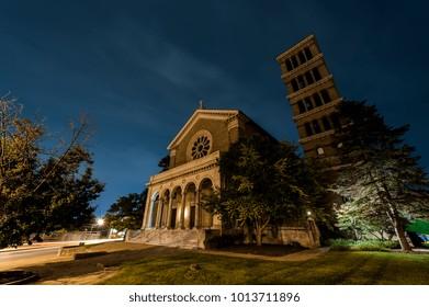 A twilight view of the abandoned St. Mark's Catholic Church in the Walnut Hills neighborhood of Cincinnati, Ohio.