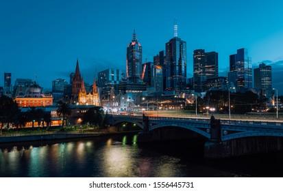 Twilight view of beautiful Melbourne cityscape skyline, Australia .