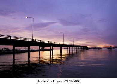 Twilight view of the bridge