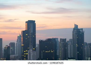 Twilight view of the city in Bangkok , Thailand.