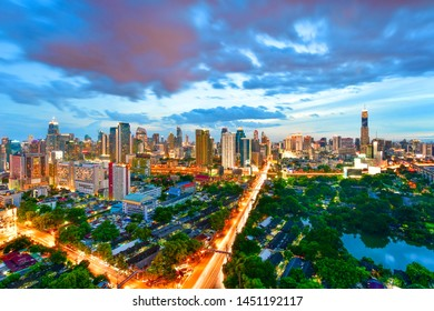 Twilight view cityscape commercial modern building and condominium in downtown Bangkok ,Thailand