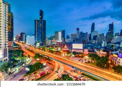 Twilight view cityscape commercial modern building and condominium in samyan Intersection area, Bangkok ,Thailand