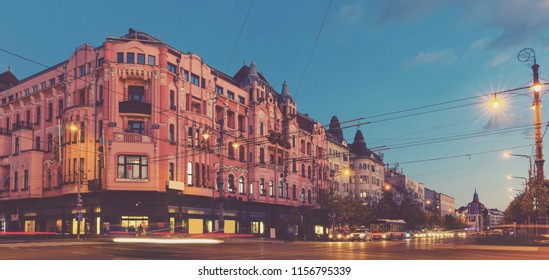 Twilight view of Debrecen streets with motion blur, Hungary