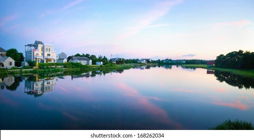 A twilight view of the inlet in Centerville on Cape Cod in Massachusetts.