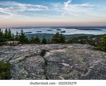 Twilight view of Maine's Porcupine Islands, seen from the summit of Acadia National Park's Cadillac Mountain.