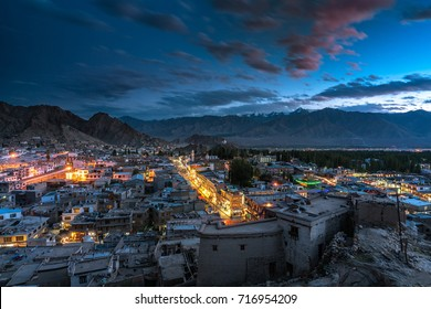 Twilight view over Leh City in Ladakh. Leh, a high-desert city in the Himalayas, is the capital of the Leh region in northern India's Jammu and Kashmir state. Low light scene