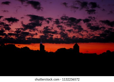 Twilight view of the Raleigh skyline as seen from Dorothea Dix Park