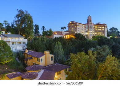 Twilight view of the Richard H. Chambers Courthouse in Pasadena, California, USA