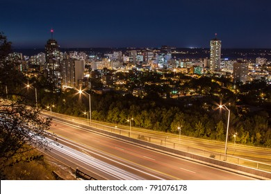Twilight view of skyline and Jolley Cut from Hamilton, Ontario, Canada